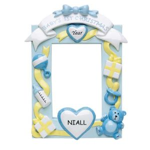 Blue Baby's 1st Christmas Frame Personalised Christmas Ornament