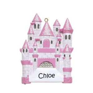 Fairytale Castle Pink Personalised Christmas Ornament