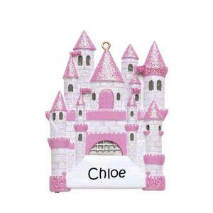 Fairytale Castle Pink Personalised Christmas Ornament 1