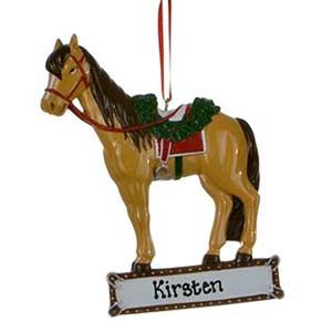 Saddled Horse Personalised Christmas Ornament