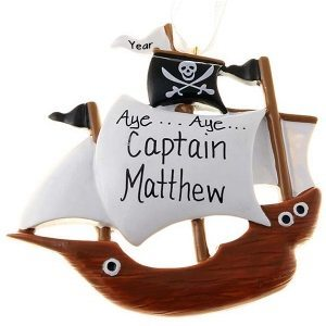 Pirate Ship Personalised Christmas Ornament