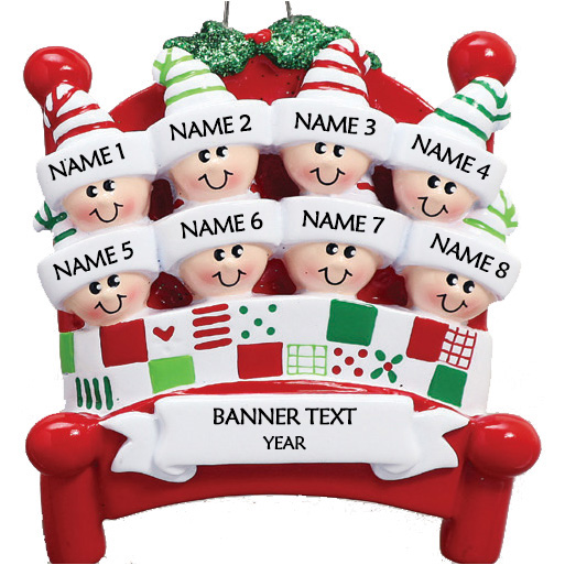 Bed Heads Family 8 Personalised Christmas Ornament 1