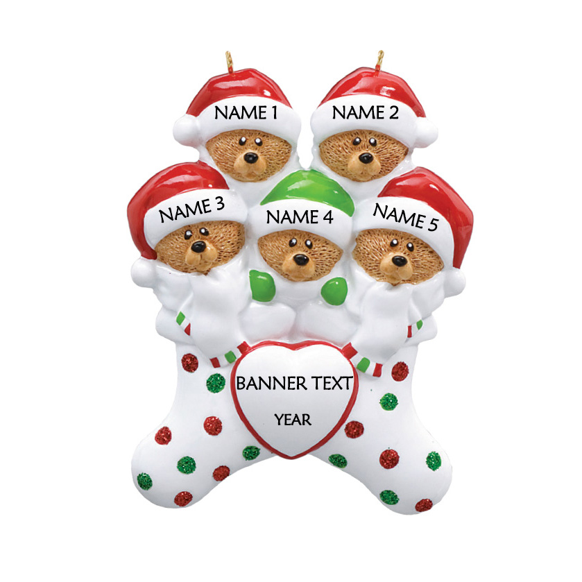 Bear Stockings Family 5 Personalised Christmas Ornament 1