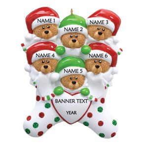 Bear Stockings Family 6 Personalised Christmas Ornament