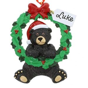 Black Bear Wreath 1 Personalised Christmas Ornament