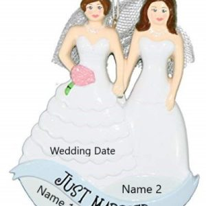 Same Sex Couple Women In Dresses Personalised Christmas Ornament