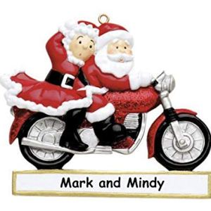 Motorcycle couple glitter Personalised Christmas Ornament