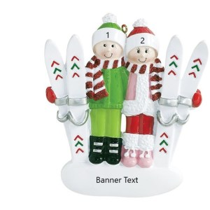 Snow Ski Couple Personalised Christmas Ornament