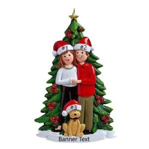 Christmas Tree Couple w/dog Personalised Christmas Ornament