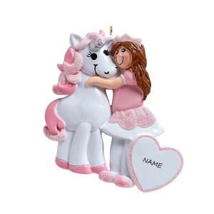 Princess and Unicorn Personalised Christmas Ornament