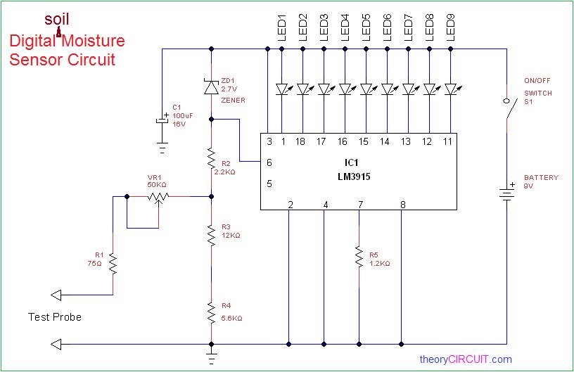 Soil Moisture Sensing Circuit