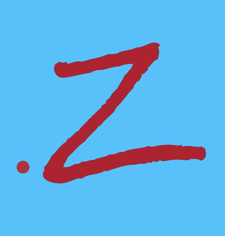 A braille lower dot 6 followed by a red Zorro slashed letter Z.
