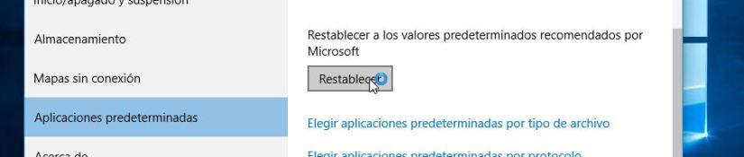 Restablecer - administrar aplicaciones predeterminadas en Windows 10