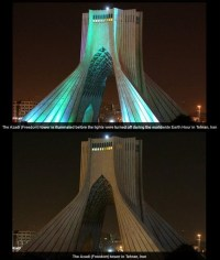 Earth Hour 2014 in Iran - Tehran - 04 - Azadi Tower (Freedom Tower)