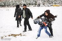 Iran, Kerman Province, Kerman City Winter Snow Snowball 06
