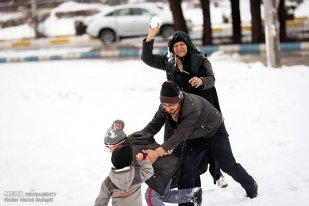 Iran, Kerman Province, Kerman City Winter Snow Snowball 11