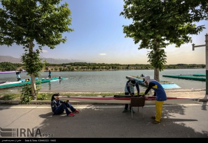 Tehran, Iran - Iran's rowing team training at Lake Azad Sports Complex 6