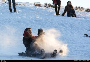 Winter joys - Snow sliding in Iran (Photo credit: Samad Kourdi, ISNA)