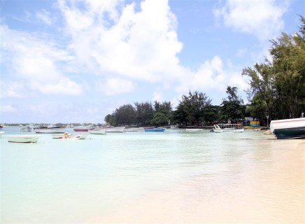 Grand Baie - our first sight of the beach