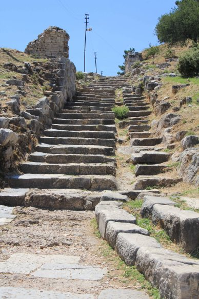 The ancient steps leading to the town. There were many more around the bend!