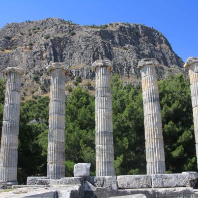 Temple columns against the background of the mountain.