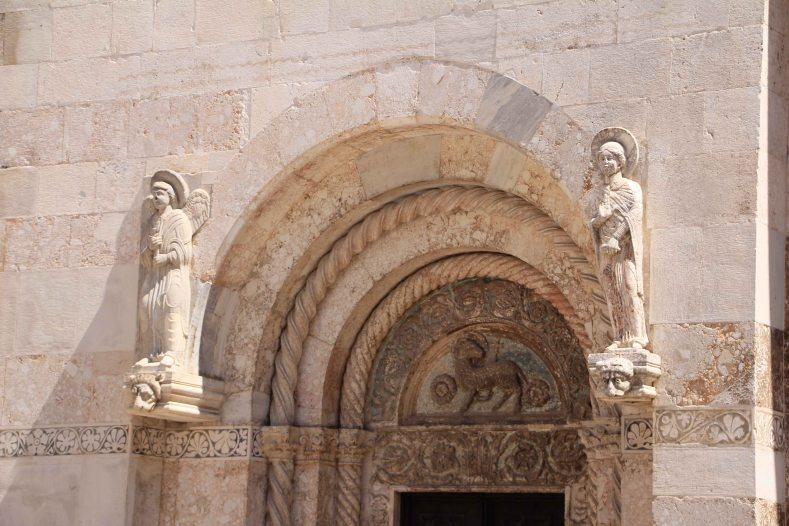Stone carvings on the cathedral door