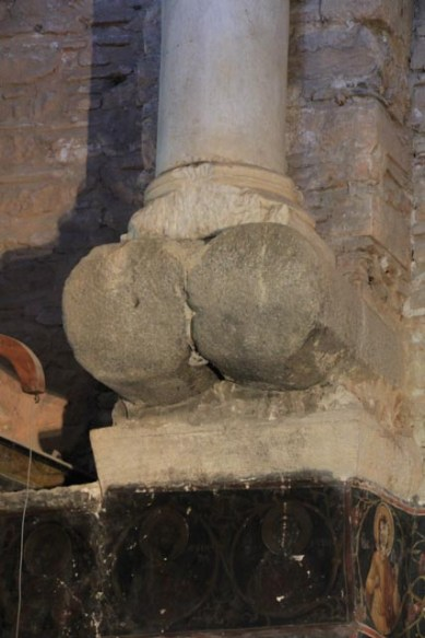 Close-up showing the supporting columns
