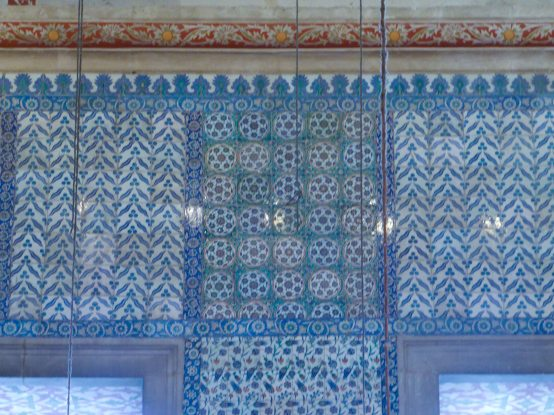 Some of the blue tiles that give the mosque its name