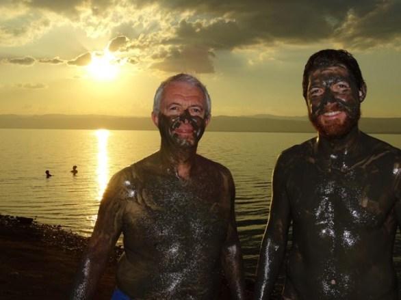 The Dead Sea - coated in 'therapeutic' Dead Sea mud