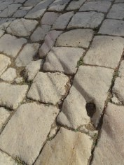 Jerash - chariot wheel ruts on the Roman road