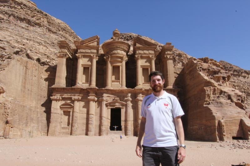 "Petra - Rob in front of the ""Monastery"" (more likely a Nabatean temple)"