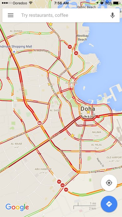 Google map of Doha showing traffic in red. Very glad I got to stay home!