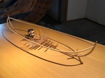 Model of the boat showing where the beams that were found would