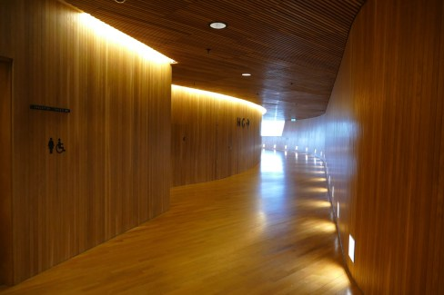 Oak panelling and clever lighting in the corridoors