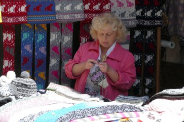 """Knitting at the """"sweater wall"""""""