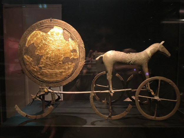 The Sun Chariot was made in the Early Bronze Age around 1400 BCE. The Sun Chariot illustrates the idea that the sun was drawn on its eternal journey by a divine horse.