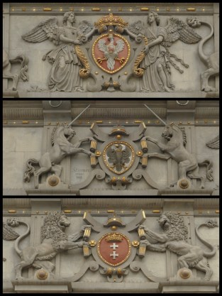 The crests of (from the top) Prussia, Poland and Gdańsk