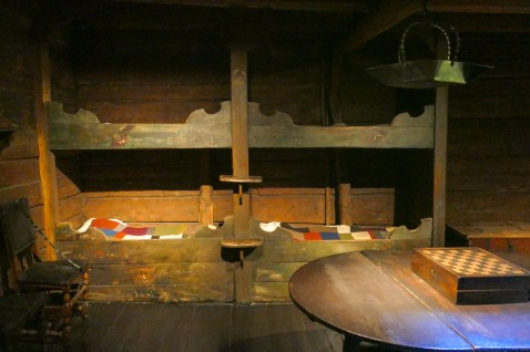 The merchants slept in these small wooden beds.