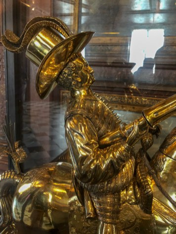 Gilt silver figurine of Christian IV. Made by the goldsmith Heinrich Beust in Brunswick in 1598, commissioned by the King and paid for with the prizes he had won at tilting at the ring during the coronation celebrations.