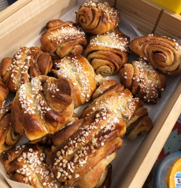 These are the famous (and delicious) Finnish cinnamon rolls. There was a seller at the Sibelius Monument, and we had to try one.
