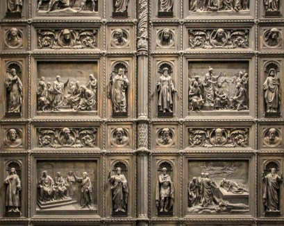 These doors are modeled after Ghiberti's doors to the baptistery in Florence.