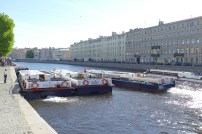 Our canal boats waiting to escort us down the river.