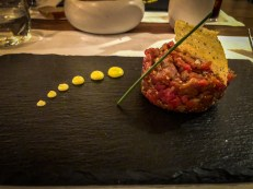 French style beef tartare with spring onion mayonnaise