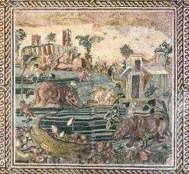 Detailed mosaic depicting Hippos, Crocodiles and hunters in the river Nile.