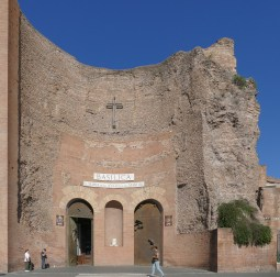 The curved facade of the church was once the caldarium of the ancient baths.