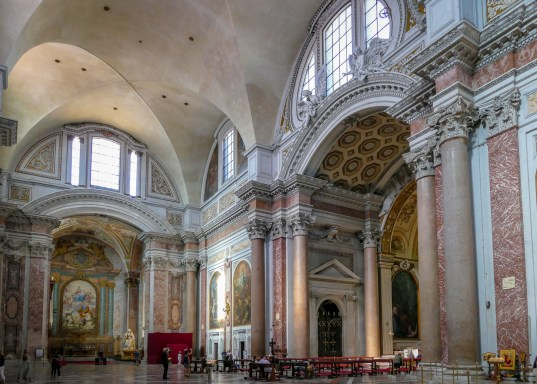 Santa Maria degli Angeli - the decor is 18th century, but the structure is 4th century . The red granite columns are original.