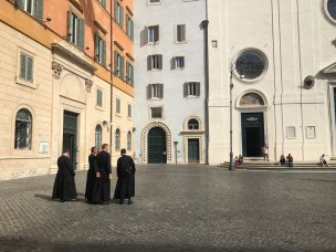 Group of monks in the Piazza Minerva, Rome