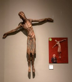 """Christ Descending"", end of the 12th century, next to a photo of Frederic Marès himself."