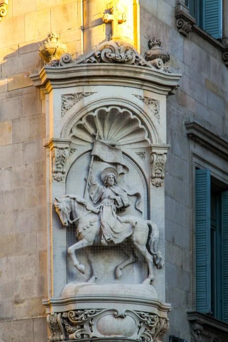 Statue of Sant Jaume (St James) in Plaça de Sant Jaume