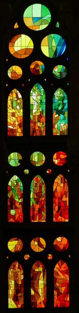 The glazing was inspired by Gaudí but designed by glass artist Joan Vila-Grau.